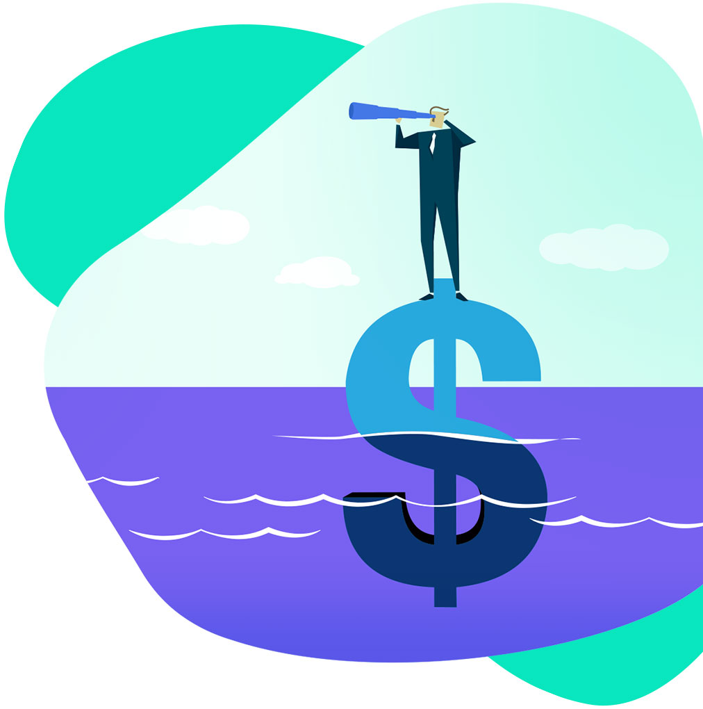 Illustration of man standing on a dollar sign.