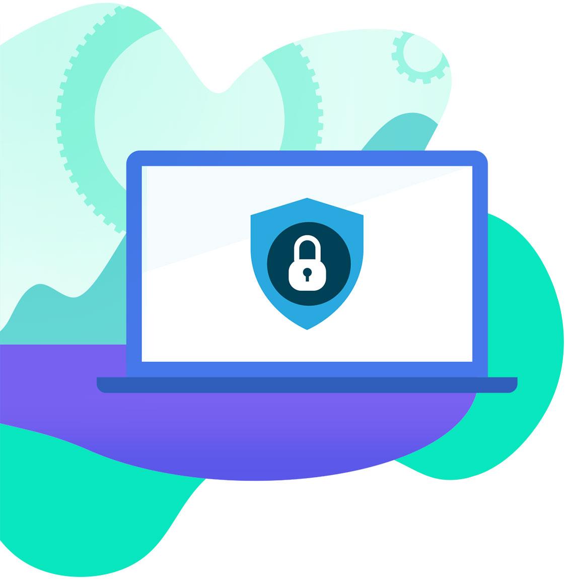 Illustration of laptop showing online security.